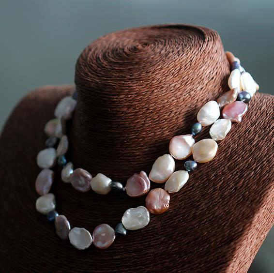 80CM Long Pearl Jewelry Multicolor Baroque Shape Freshwater Pearl Necklace Handmade Fashion Ladys Pearl Necklace<br><br>Aliexpress