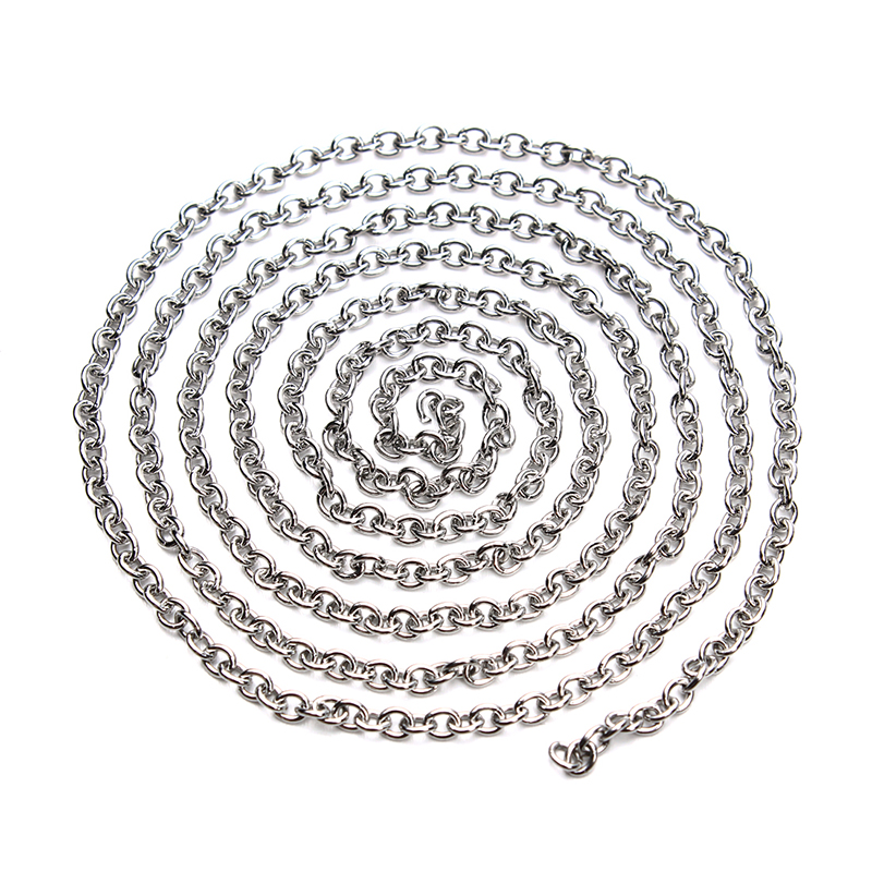 5meter/lot Stainless Steel Open Link Chain For Jewelry Diy Silver Tone Metal Bulk Oval Bracelet Chains Necklace Findings F3610(China (Mainland))