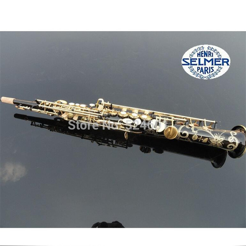 manufacturer Wholesale France Henri selmer B soprano saxophone Super action 80 series II gold-bonded black body<br><br>Aliexpress
