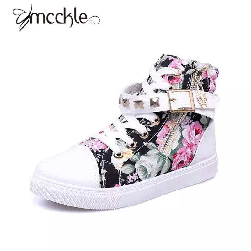 Sneakers Women 2016 Autumn Fashion Casual High Top Floral Printed Rivets Women's Canvas Shoes Students Tenis Shoes Big Size 40(China (Mainland))