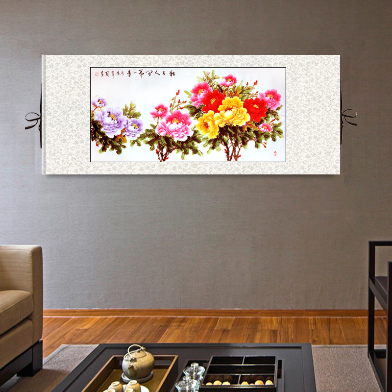 Chinese traditional painting home decoration decorative craft diplomatic gift hand-painted peony painting fengshui art inLuoYang(China (Mainland))