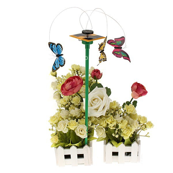 Freeshipping Children Girls Solar Power 3 Flying Butterfly Garden Yard Decoration Toys Sets Gadgets For Kids(China (Mainland))