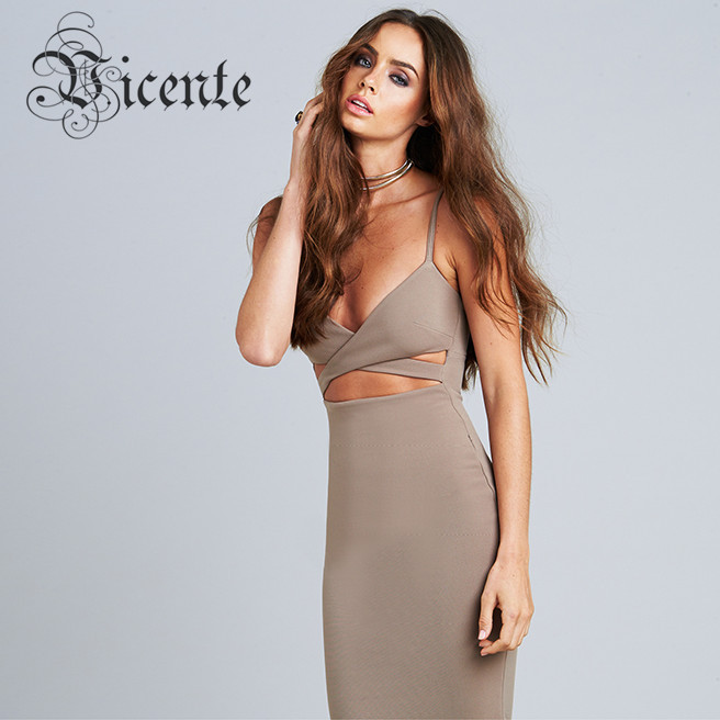 2015 New Gorgeous Cut-out Cross Bodycon Hedi Bustier Dress VJ025 Women Celebrity Party Club Wear