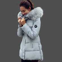 Winter Jacket Women Cotton Coat Down Parka Large Raccon Fur Collar Hooded Coat Outwear 2015 Women's Warm Slim Parkas For Female