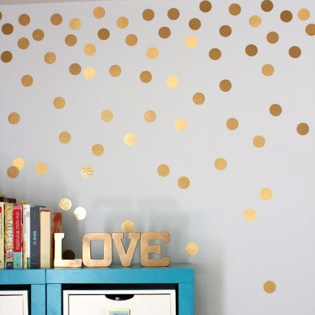 Gold Polka Dots Wall Sticker Baby Nursery Stickers Golden Polka Dots Children Wall Decals Pattern Vinyl Wall Art P5(China (Mainland))