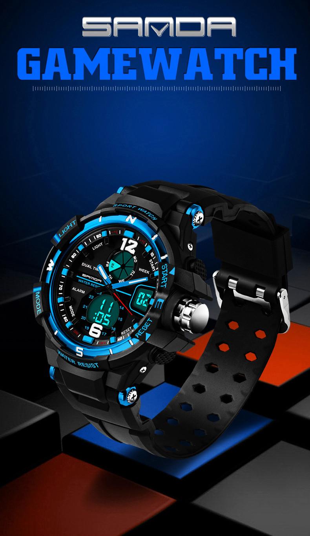 22a1a88fc67 Brand sanda Fashion Watch Men Military Sports Watches Waterproof LED  Digital Watch Men s Luxury Analog Quartz Digital-watch