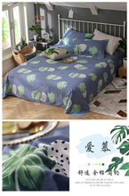 3pcs 100% Cotton Luxury Flat Sheet white blue Color Bed Linen Bedding Twin Full Queen King Size flower Good quality Home textile(China)