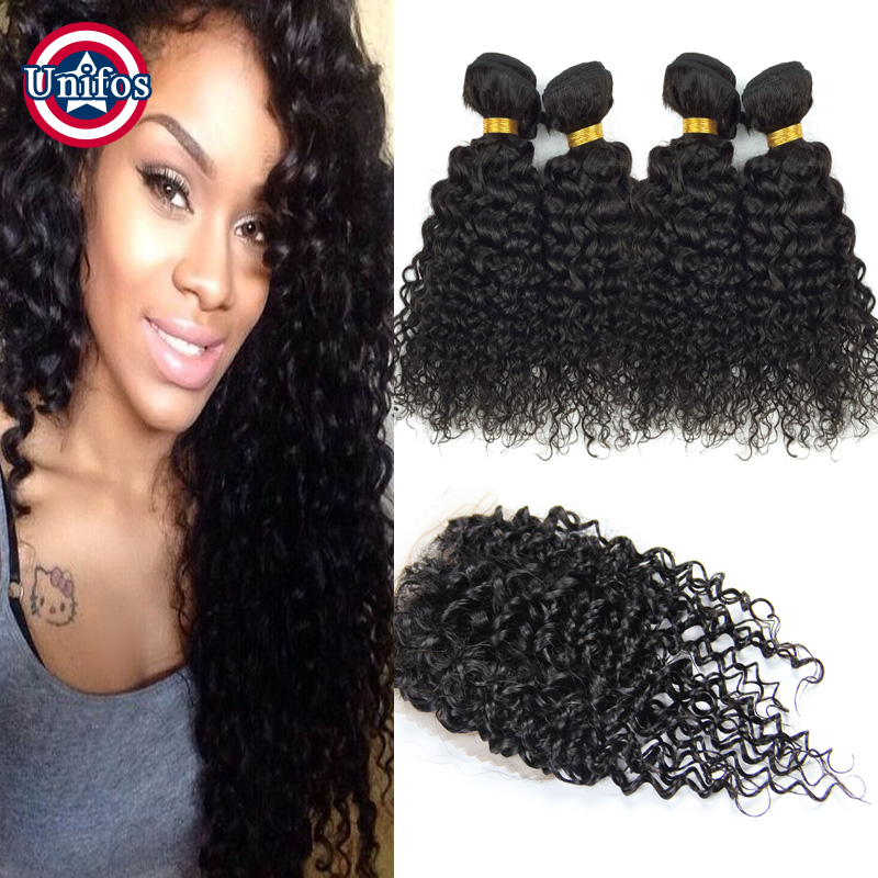 Kinky Curly Peruvian Virgin Hair With Closure 4 Bundles Peruvian Human Hair With Closure Curly 3/ Middle/ Free Part Lace Closure