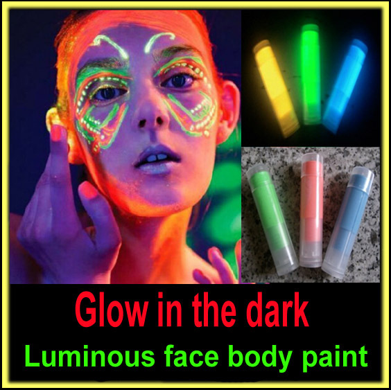 Glow in the dark black light body paint face body color luminous fluorescent neon blue makeup maquiagem metallic flash tattoo(China (Mainland))