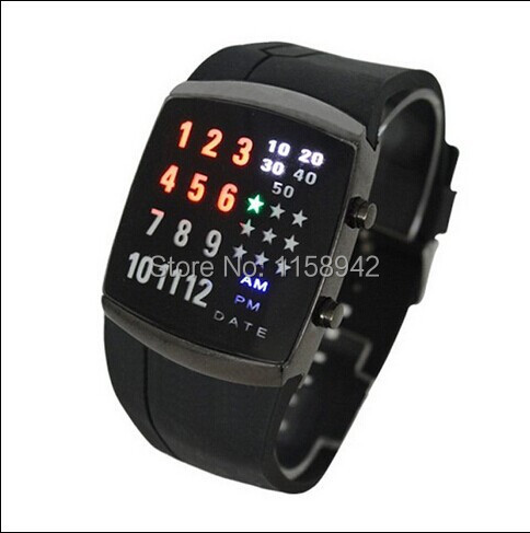 Free Shipping 9033 LED29 lights Star Watch LED Light Rubber Band 9033 29 lights Star LED Watch<br><br>Aliexpress