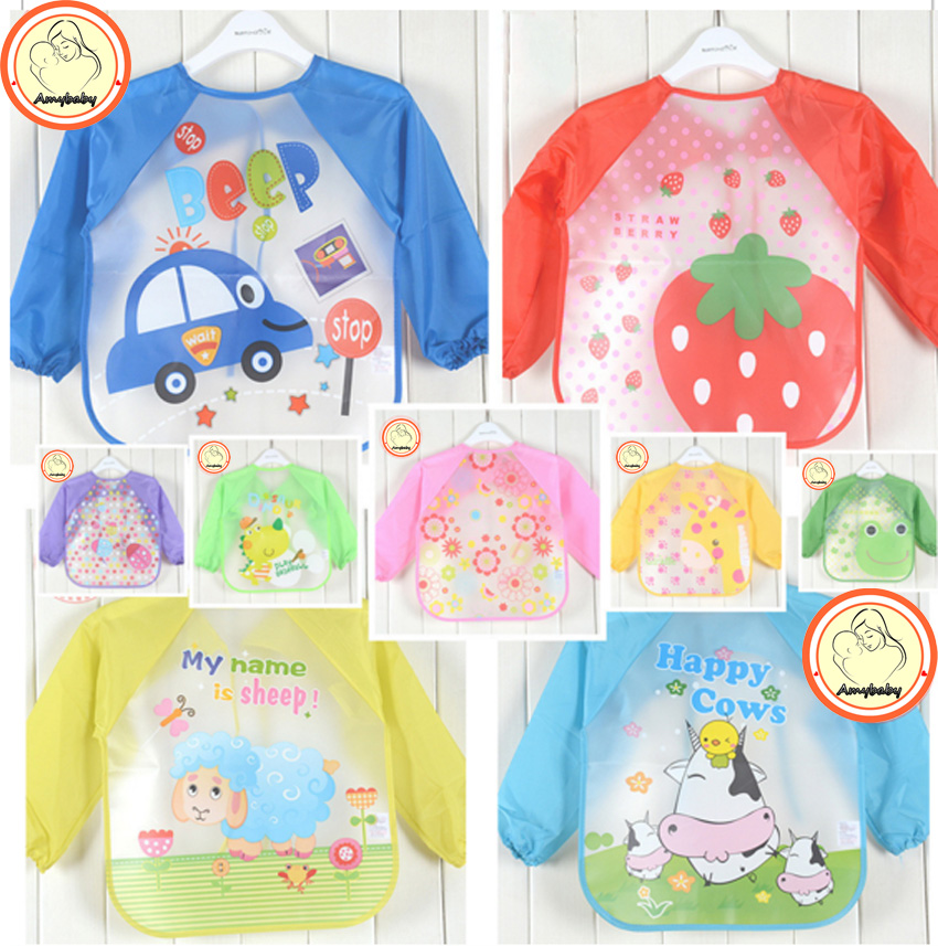 Hot New Children Baby Todders Waterproof Long Sleeve Art Smock Bibs Apron Cartoon 2016 Feeding baberos bavoir clothing(China (Mainland))