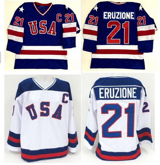 1980 Miracle On Team USA 21 Mike Eruzione Ice Hockey Jerseys Blue White Stitched Usa Hockey Jerseys S-XXXL Free Shipping(China (Mainland))