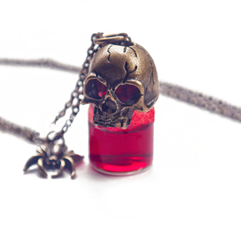 gothic Skeleton poison glass blood bottle choker statement necklaces & pendants For women vintage Necklace bijouterie SWXS128(China (Mainland))