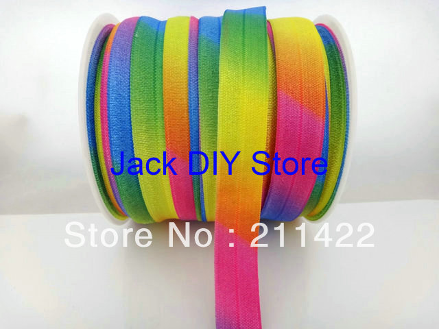 10 Yards Neon Rainbow Colorful 5/8 FOE Fold Over Elastic Fold Over Elastic for headband Hair Accessories