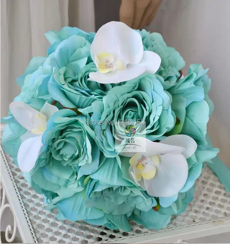 Blue And White Silk Wedding Bouquets : Free shipping silk flower blue rose and white real touch