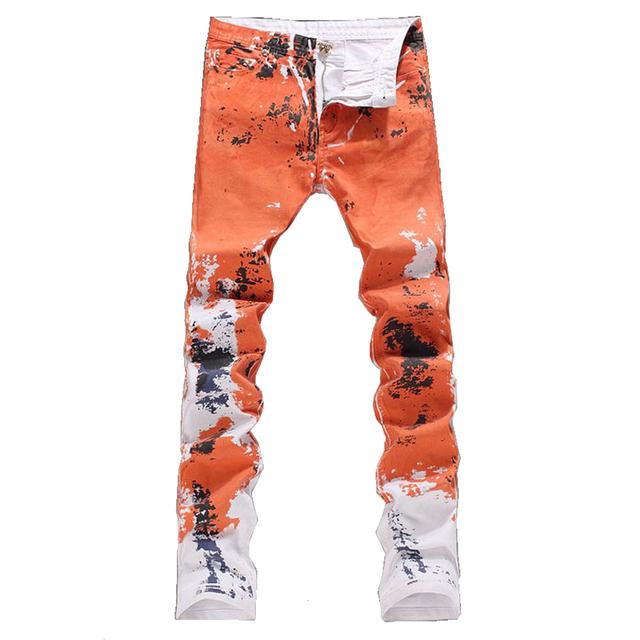 Мужская мода оранжево красный печать джинсы мужской тонкая пригонка джинсовые брюки ...