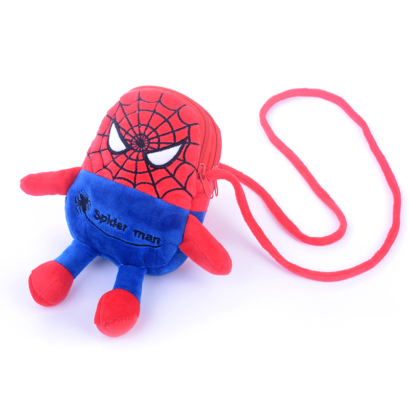 Cute Spider Man Shoulderbag Girls Plush 7'' Key/Card/Coin Purse/Cellphone cross Messenger For Gift Free Shipping(China (Mainland))