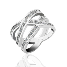 (Min $10 mix orders) Hot Selling Wholesale Jewelry 18K White Gold GP Top Grade Crystal Finger Band Ring US Size 6,7,8 WR179(China (Mainland))