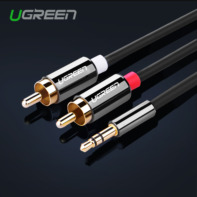 Ugreen HIFI RCA Jack Cable 2 RCA Male To 3.5 Male Audio Cable 1M 1.5M 2M AUX Cable For Edifer Home Theater DVD iPhone Headphone(China (Mainland))