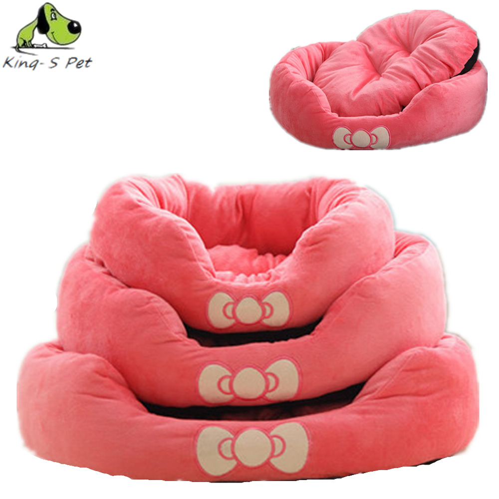 King-S Pet Butterfly Bow Circular Pet Dog Kennel Can Unpick And Wash High Quality Fleece Pet House Free Shipping Dog Bed(China (Mainland))