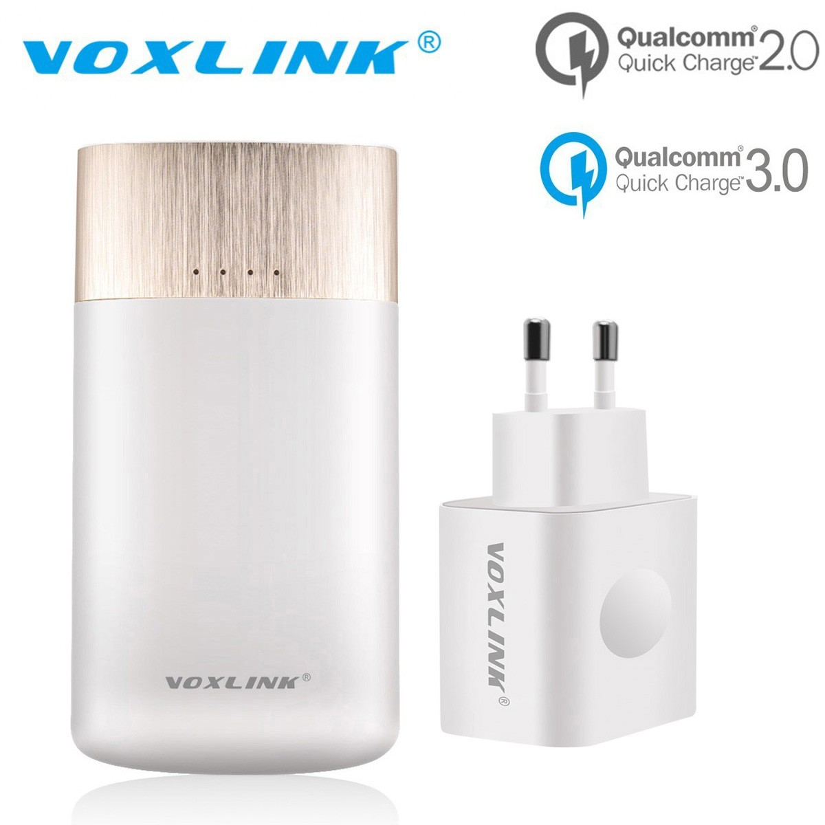 VOXLINK Original 2 in 1 Qualcomm Quick Charge 2.0 Dual Smart USB 9000mAh Power Bank + Qualcomm Quick 3.0 Charger EU/US Plug