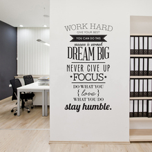 Wall Decals Quotes Work Hard Vinyl Wall Sticker Letras Decorativas Office Home Decoration Wall Art Wall Stickers Size 100x56cm(China (Mainland))
