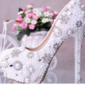 Luxurious Elegant Wedding Bridal Shoes Rhinestone with Imitation Pearl High Heel Wedding Dress Shoes Woman Party