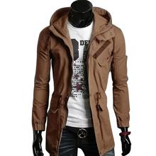 2015 Long Cotton Saddle Brown Paul Jones Casacos De Firo Plus Size Korean Men Stylish Slim Fit Hooded Trench Coat Outerwear 7189(China (Mainland))