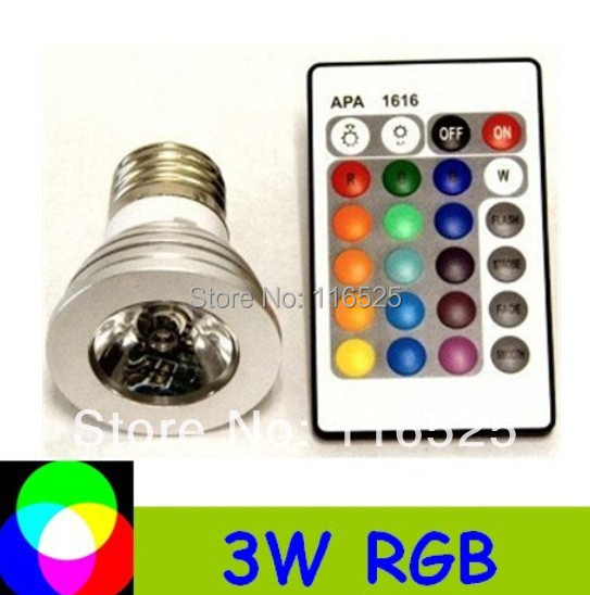3W RGB Spotligh E27 E14 GU10 MR16 base with remote controller  Free shipping LED bulb RGB Ligh decoration light E27 base 1pcs