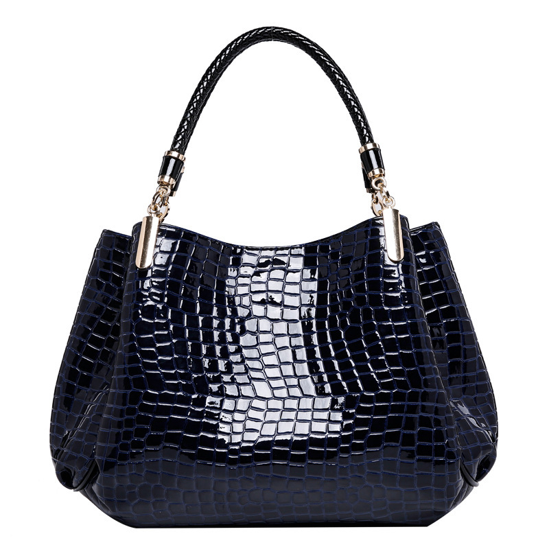 2016 in Europe and the hot style crocodile handbag glossy female bag patent leather high-grade stone lines women handbags(China (Mainland))