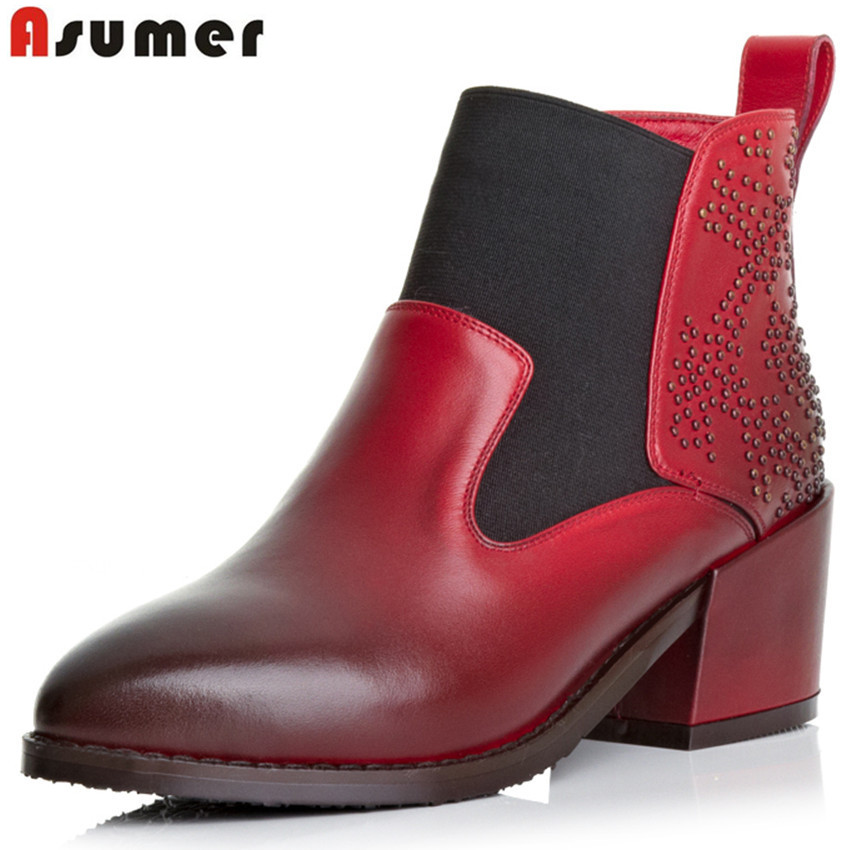 new arrive cowhide high quality genuine leather ankle boots red black pointed toe simple fashion high heels women boots<br><br>Aliexpress