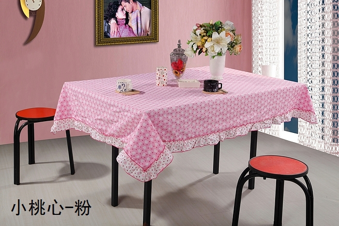 pink color Table Cover Flower Blue 100% Cotton Table Cloth(China (Mainland))