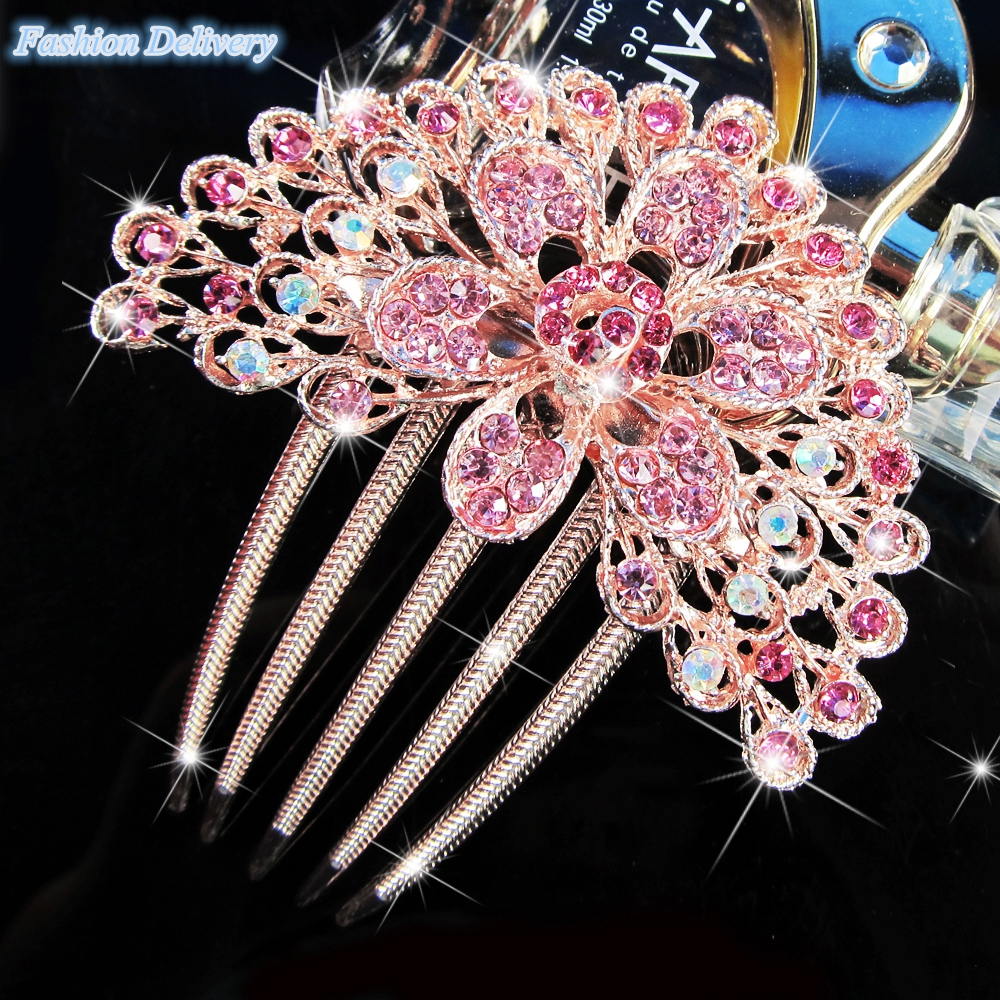 Pink Hair Comb Five Combs Bling Hair Jewelry Crystal Inserted Hair Accessories Dish Hair Tools Fashion Tiara Free Shipping(China (Mainland))