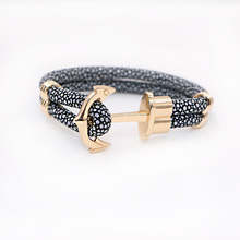 2016 New Fashion Anchor Bracelets Stingray Leather Bracelet  for Women Man Best Friends Gift  pulseira F0401(China (Mainland))