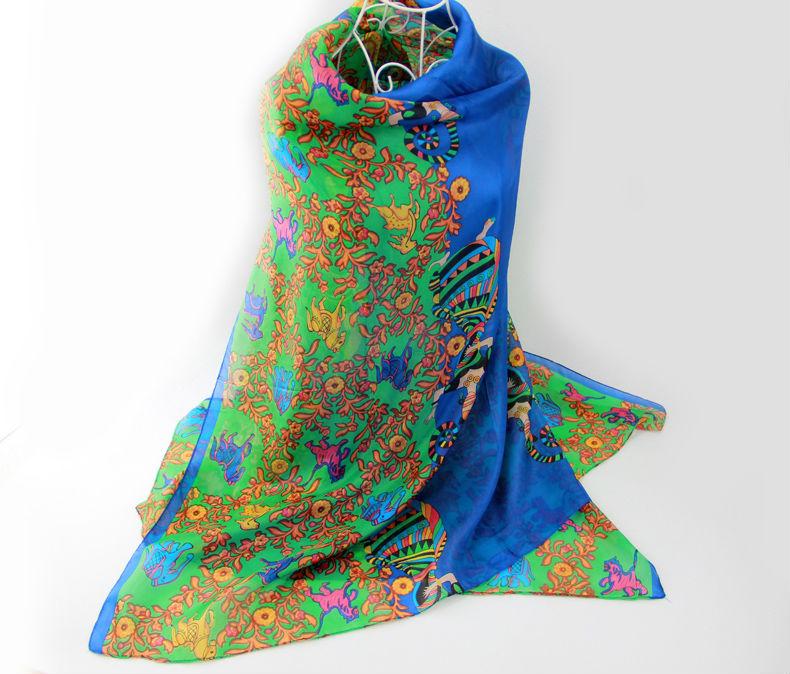2016 spring 100% silk Scarf Shawl wrap foulard fashion scarfs for women Female long style super big 180x110CM summer beach towel(China (Mainland))