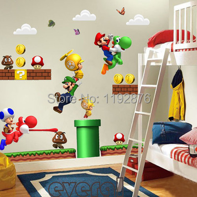 Super Mario Bros Kids Removable Wall Sticker Kids Nursery Decals Home Decor(China (Mainland))