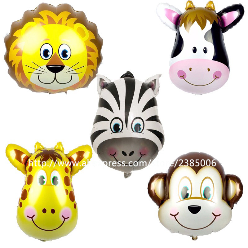 10pcs/lot 53*56cm Mix Monkey Lion Zebra Deer Cow Head Helium Foil Balloons Birthday Party Animal Air Balloons Animal Theme Party(China (Mainland))