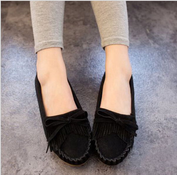 2015 Popular Flat Heel Bowtie&Tassel Bow Knot Round Toe Slip On Candy Color Loafer Shoes Comfortable Women Shoes Free ship 128(China (Mainland))