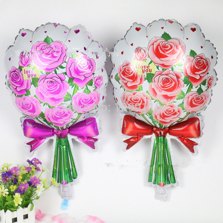25 Inches New Pink Rose Flowered Shaped Foil Balloons Wedding Party Decorations Decor Cheap - China Kids Paradise store