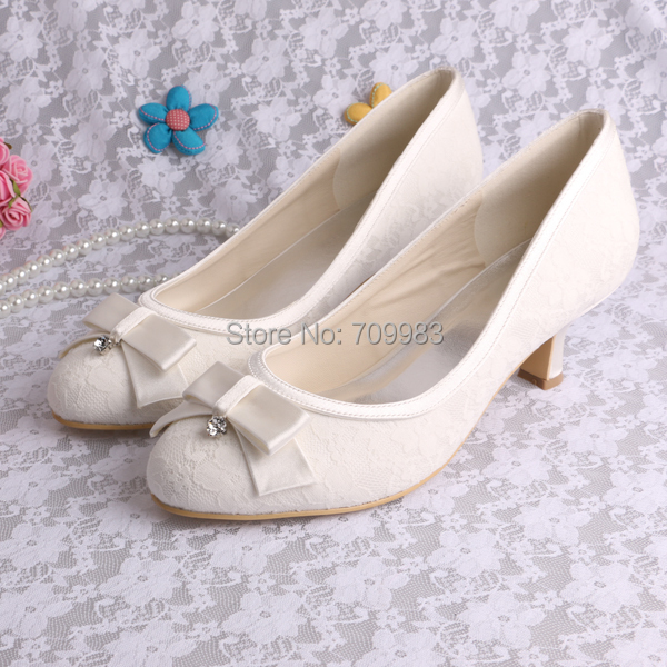 CUSTOM HANDMADE Super Quality Low Heel Wedding Shoes for Bride White Lace Pumps Free Shipping<br><br>Aliexpress