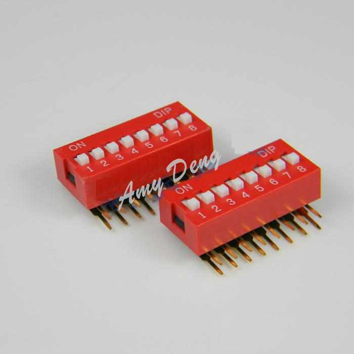 50pcs/lot Free shipping 8P DIP switch 8 bit curved foot switch (AHH2)<br><br>Aliexpress