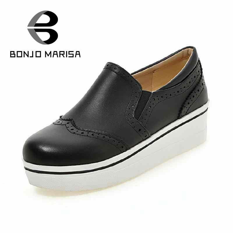 Retro Big Small Size Round Toe Slip On Concise Thick Heels Shoes Rubber Skidproof Sole Classic Platform Big Brand Women Flats<br><br>Aliexpress