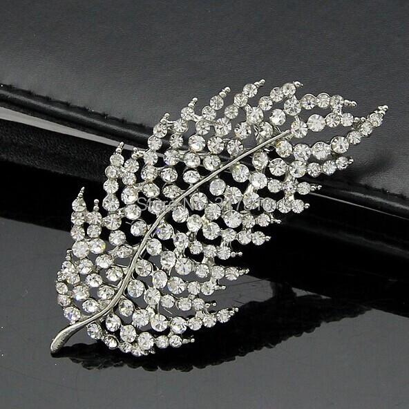 2.75 Inch Silver Plated Clear Rhinestone Crystal Diamante Large Leaf Brooch<br><br>Aliexpress