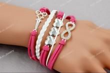 Rhinestone Hairstylist Scissors Heart Infinity Charm Fashion Unisex Bracelet ,Custom Jewelry, Free shipping!  Aolo00154(China (Mainland))