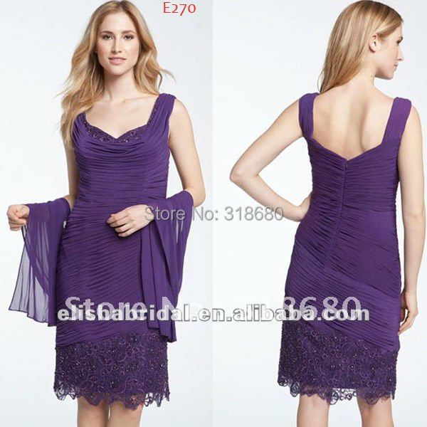 Purple Sweetheart Straps Beaded Lace Mother Of The Bride Dresses 2012(China (Mainland))