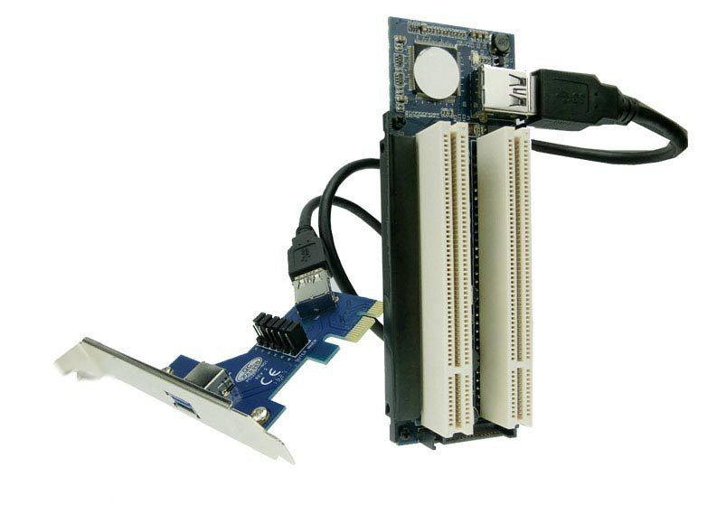 Free Tracked Shipping! PCI-express x1 PCIe TO 2 PCI Adapter Router Dual PCI slot Riser Card Get Tow PCI(China (Mainland))