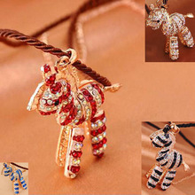Fashion New Style Horse Jewelry Zinc Alloy with Czech Crystal Rhinestone Necklace Long Rope chain Gold Horse Pendant Necklace(China (Mainland))