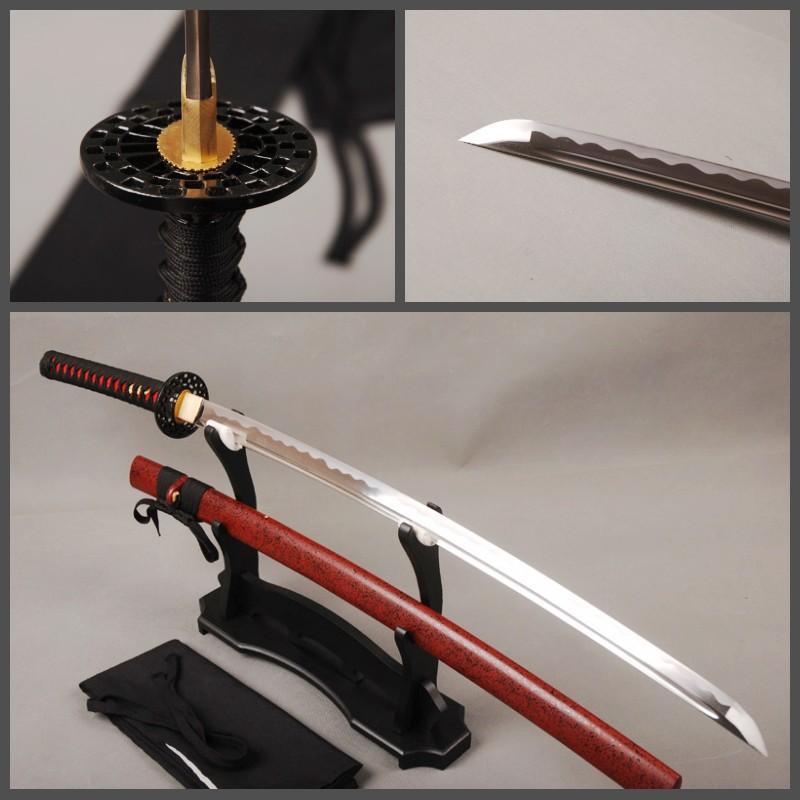 Delicate Metal Decoration Samurai Sword Japanese Katana 1065 Carbon Steel Full Tang Sharp Edge Durable Knife(China (Mainland))