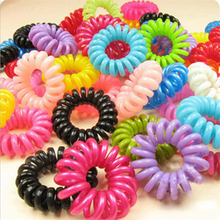 10pcs/lot Telephone Wire Line Cord Invisi Traceless Hair Ring Gum Colored Elastic Hair Band For Girl Hair Scrunchy Children's(China (Mainland))