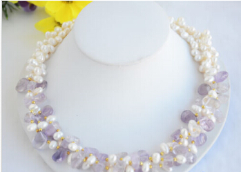 """FREE SHIPPING>>>3row 20"""" rice white freshwater pearl lavender amethyst necklace(China (Mainland))"""